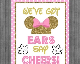FLASH SALE Minnie Mouse Birthday Sign, Ears say Cheers , Pink and Gold