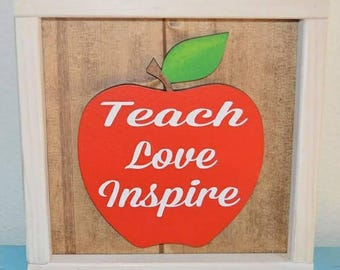 Framed teacher sign with wooden apple cut out
