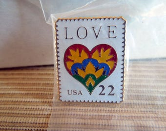 """United States Postal Service 22 cent """"Love"""" Stamp Pin."""