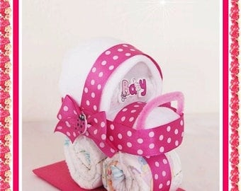 Mini baby carriage out of diapers gift diaper cake stroller