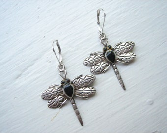 Vintage sterling silver dragonfly earrings
