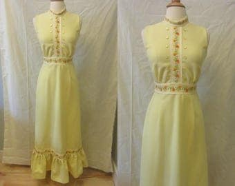 1970s yellow maxi dress | 70's flower child