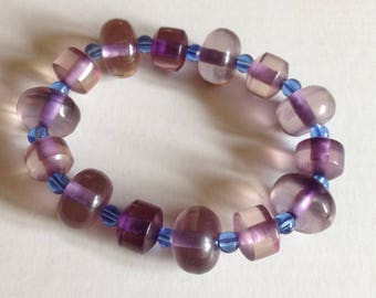 Bracelet - beads bracelet clear purple small blue beads