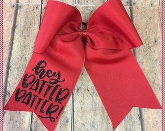"""Cheer Bow""""Hey Batter Batter"""" Red And  Glitter Vinyl, Pony O Or French Barrette, Ready To Ship: Convo For Color Changes"""