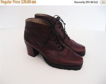 ON SALE 90s Oxblood Red Leather Platform Ankle Boots / women's SHOES