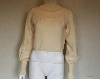 25% off SALE Yves Saint Laurent creme knit soft wool turtleneck sweater Size small