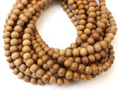8mm High Quality Sandalwood Matte Unpolished Natural Wood Beads, Matte Handmade Beads 16 inch Strand, 54 Beads for Mala Necklaces