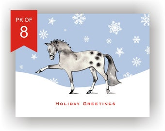 Christmas Cards Set of 8/Horse Holiday Card Set with snowflakes/Equine  Christmas Cards/horse gifts