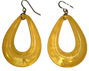 Large Hoop Earrings Lucite for Pierced Ears Golden Yellow