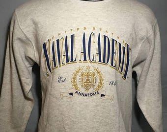 35% OFF SALE Vintage 90s United States Naval Academy 1990s Navy Sweatshirt - vintage sweatshirt - college - university shirt (Medium)