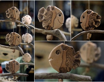 3 Fish on Driftwood window hanger-Ceramics
