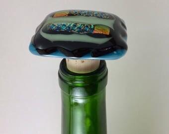 Fused Glass Wine Stopper, Glass Wine Stopper, Wine Stopper, Wine Lover Gift, Glass and Cork Wine Stopper, Fused Glass Stopper