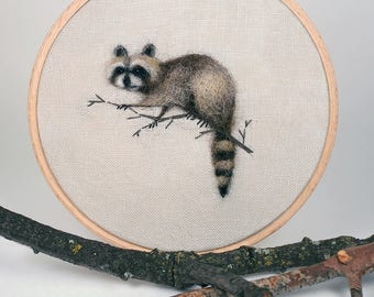 Needle Felted Perched Raccoon