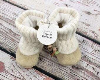 Custom listing for Heidi 18m - Ivory cable knit lambswool with Organic Bamboo fleece lining, sheep-skin insoles