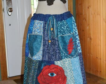 Eyes Of The World patchwork pixie pocket skirt