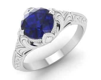 Blue Sapphire Engagement Ring, 14K White Gold, Vintage Ring Gold, Solitaire Engagement Ring, Anniversary Ring, Wedding Ring, Gemstone Ring