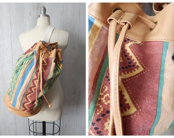 Vintage 80s 90s Vegan Leather and Design Print Canvas Large Bucket Tote Backpack Rucksack by Montella Handbags