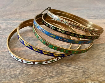 Beautiful Vintage Enamled Bangle Braclets From India - Set of Six