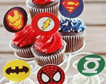 24 Superhero Cupcake Toppers Superhero Party Superhero Favors Party Supplies