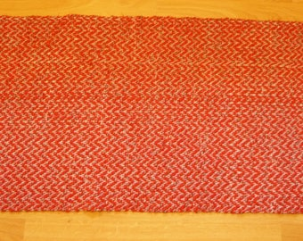"Loom Woven Rag Rug 25 x 50"" Including Fringe Rectangular  Handmade Handwoven  Cotton  Rug Red Black and White Ready to Ship"