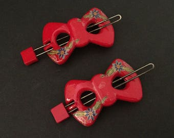 2 Red Plastic 1960s Slide-Bar Barrettes with Floral Transfers, Sized for Kids & Adults, Work Great!