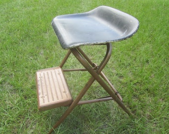 Vintage Metal Step Stool Step Chair Stool Step Ladder Folding Step Stool & Metal Step Ladder Folding Metal Step Stool Blue and White islam-shia.org