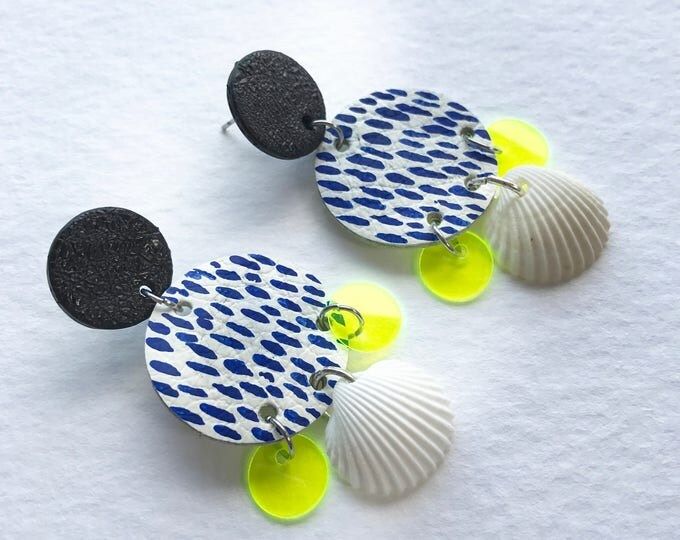 Featured listing image: Statement cocktail leather earrings in black and white leather painted in blue with seashells and transparent vinyl sequins