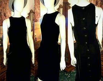 Women's size small black dress vintage velvet dress with pockets button up dress knee length sleeveless dress women's vintage dress