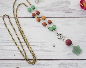 Green aventurine necklace - green aventurine crystal necklace, green aventurine stone, green stone, quartz jewelry, healing * FREE SHIPPING