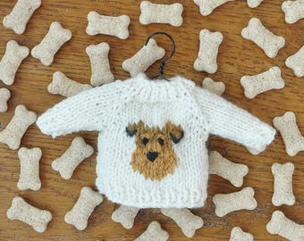 Welsh Terrier - Airedale Terrier Hand-Knit Sweater Ornament