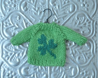 Shamrock St Patrick's Day Hand-Knit Sweater Ornament