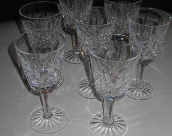 Vintage Waterford Crystal  White Wine Glasses, Set of 7 glasses, Waterford Lisemore