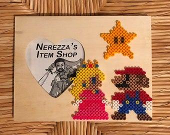 Super Mario Bros. - Mario and Peach Heart Shape Wooden Frame
