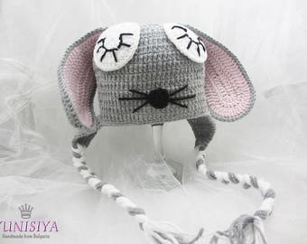 Crochet baby hat Baby boy hat Crochet hat Animal hat Bunny Baby Hat Rabbit baby hat Gray and pink Rabbit baby Bunny baby,