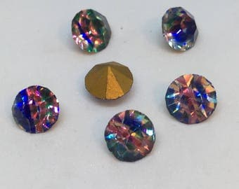 Vintage Glass Round Iris rainbow colour Faceted Glass Foiled Rhinestone chaton 6mm pointed back - 6 pieces