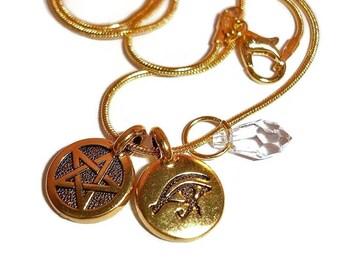 Collar cristal pentagrama collar pagano collar Wiccan collar cristal Collar Ojo de Horus collar 3 pc Pagan colgantes