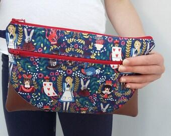 Alice in Wonderland Double Zip Clutch Bag