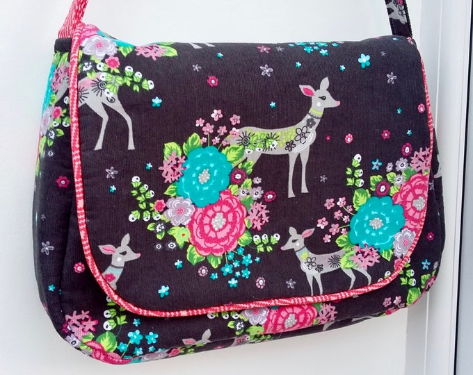 Fawn and Floral Messenger Bag