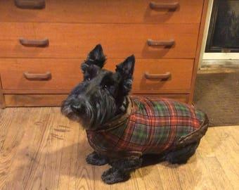 Tartan plaid dog coat
