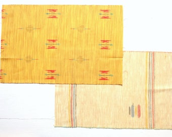 2 pcs 36cm x 54cm Kimono Wool Blend Yellow Fabric Remnant Pieces M105