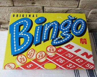 Vintage Bingo Lotto Game Original By Jumbo  Retro Game Vintage Board Game Wooden Numbers and Dice Old Games Table Game Old Bingo Set