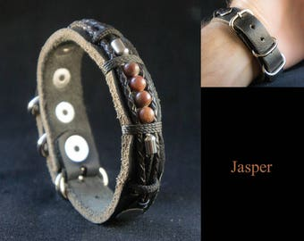 Beaded Bracelet for Men with Jasper Gemstones, Semi Precious Stones Bracelet
