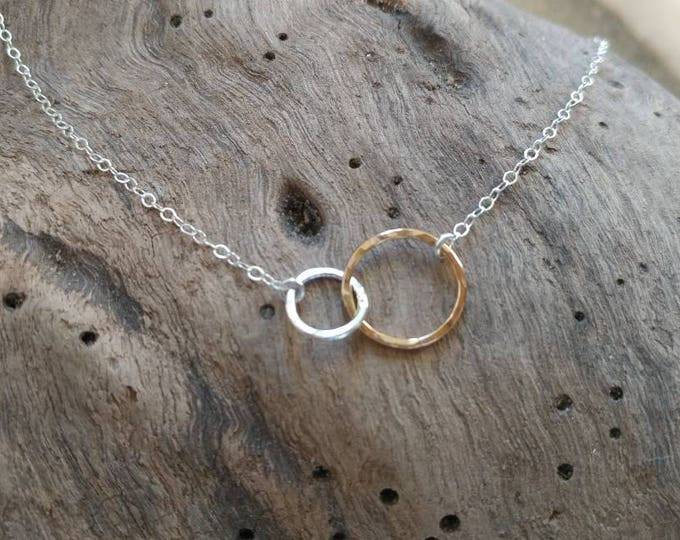 Tiny Gold necklace, Tiny Circle, Silver and Gold, Mixed Metal, Infinity Necklace, Layering necklace, Gold, Sterling, Tiny Necklace, Dainty