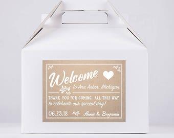 Wedding Favor Stickers - Wedding Gable Box - Wedding Guest Box - Wedding Welcome Box - Wedding Favor Box - Gable Box - Favor Box
