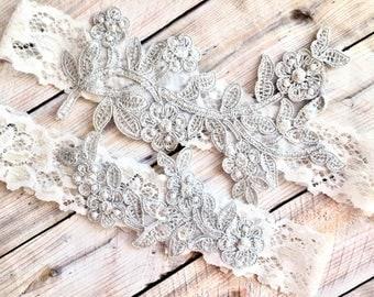 Silver Garter Set, White Wedding Garter, White Lace Garter, lace wedding garter, lace garter, lace garter set, silver garter, garter set