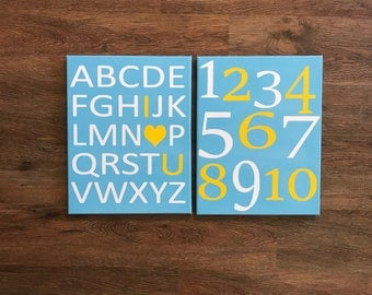 ABC alphabet canvas, 123 numbers canvas, CUSTOM COLORS alphabet and number art, nursery wall art, kids wall art, playroom art, abc and 123