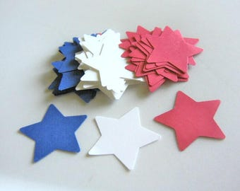 45pc, Star Die Cut, Red White Blue Stars, 1 3/8 Inch , 65lb Cardstock