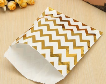 5 krafts - gift bag - Chevron paper bags-