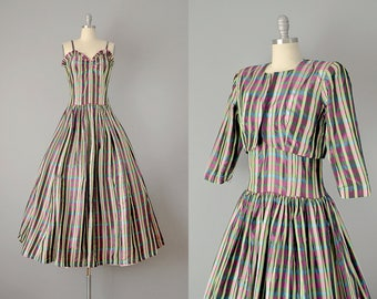 30s Dress // 1930's Plaid Silk Ribbon Taffeta Gown w/ Matching Bolero // Medium