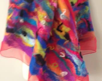 Funky colourful nuno felted shawl